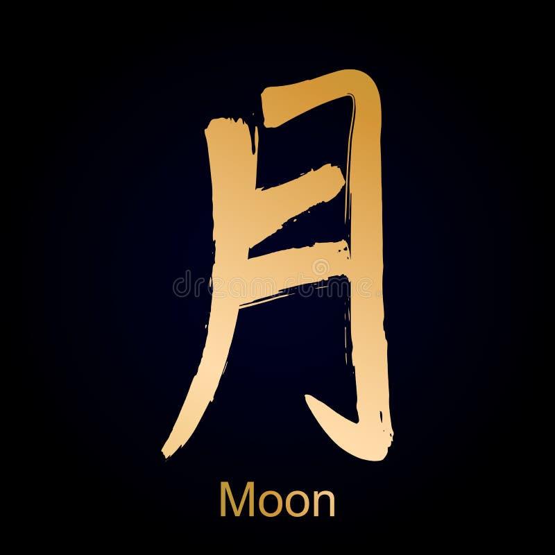Kanji hieroglifu księżyc royalty ilustracja