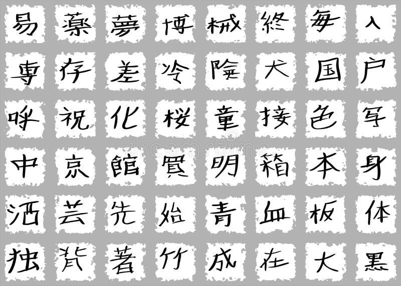 Kanji japońscy Charaktery ilustracji