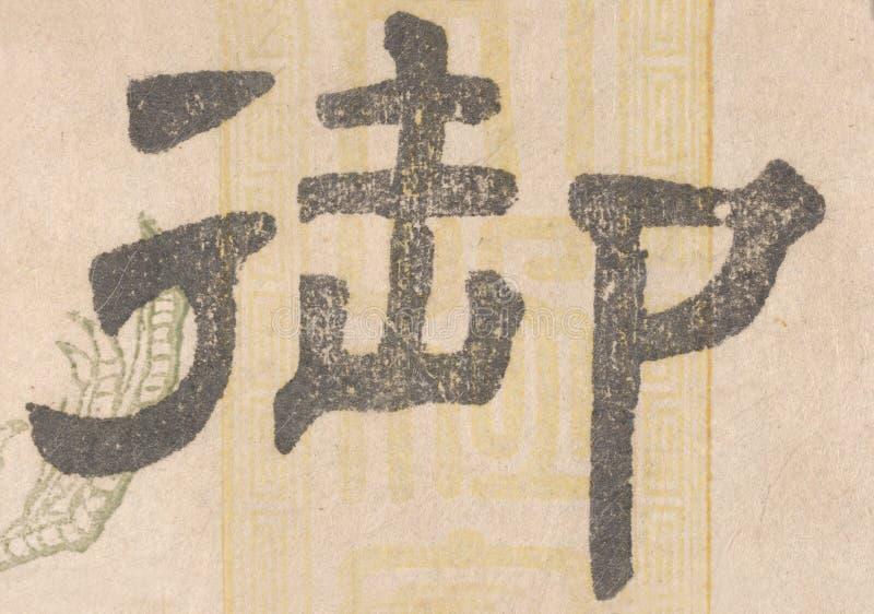 Kanji japonés en el papel viejo