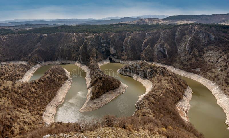 Kanjon av den Uvac floden med slingringar p? naturreserven Uvac, Serbien arkivfoto