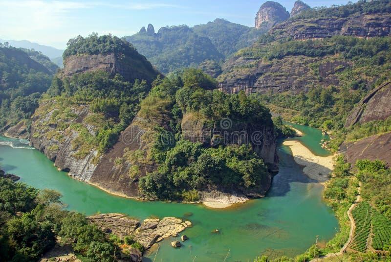 Kanjon i det Wuyishan berget, Fujian landskap, Kina arkivbilder
