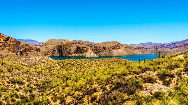 Kanjon sjö och ökenlandskapet av den Tonto nationalskogen arkivfoton