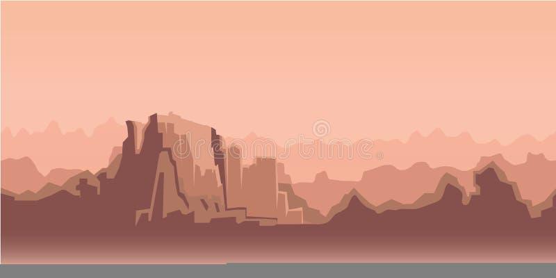 Kanjonmorgonlandskap, beige signal också vektor för coreldrawillustration Plan stil horisontal royaltyfri illustrationer