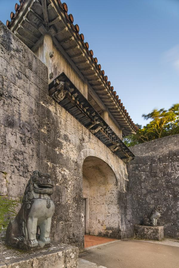 Kankaimon gate of Shuri Castle`s in the Shuri neighborhood of Naha, the capital of Okinawa Prefecture, Japan.  stock image