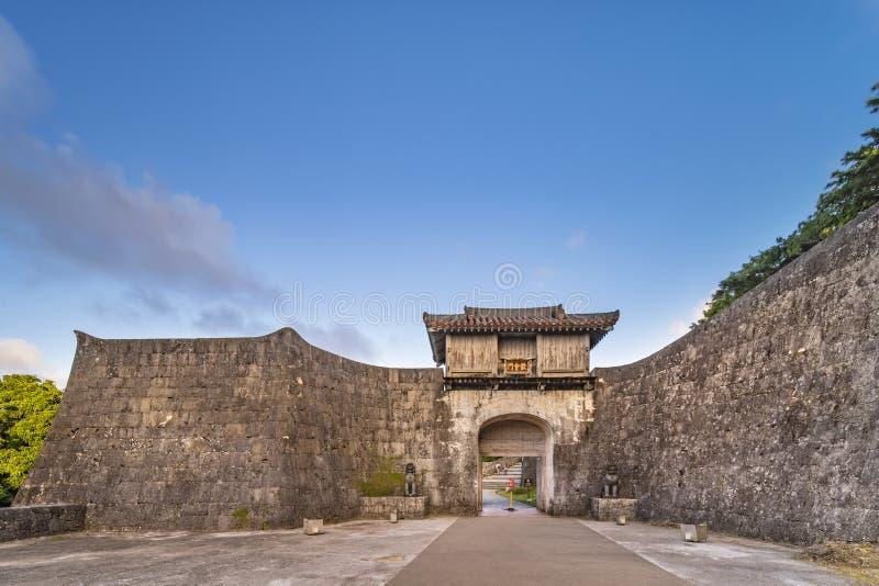 Kankaimon gate of Shuri Castle`s in the Shuri neighborhood of Naha, the capital of Okinawa Prefecture, Japan.  stock photo
