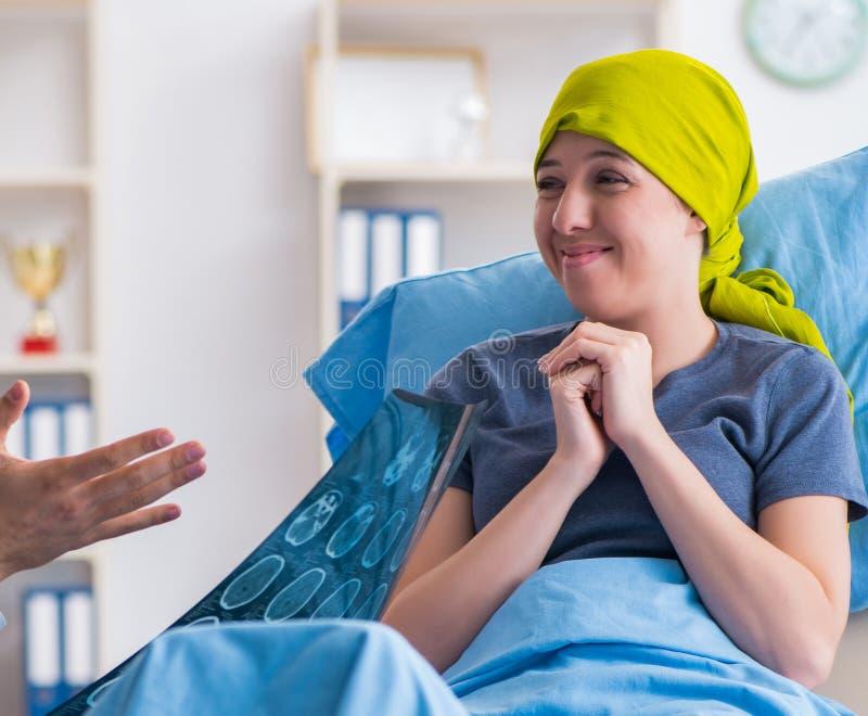 Kanker geduldige bezoekende arts voor medisch overleg in clini stock afbeelding