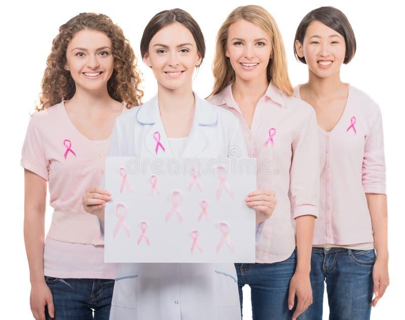 Kanker van de borst Financier de strijd, vind een behandelings postzegel stock foto
