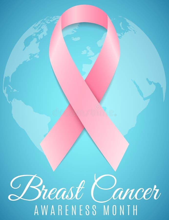 Kanker van de borst Financier de strijd, vind een behandelings postzegel Voorlichtingsmaand Roze lint Wereldkaart van aarde Banne vector illustratie