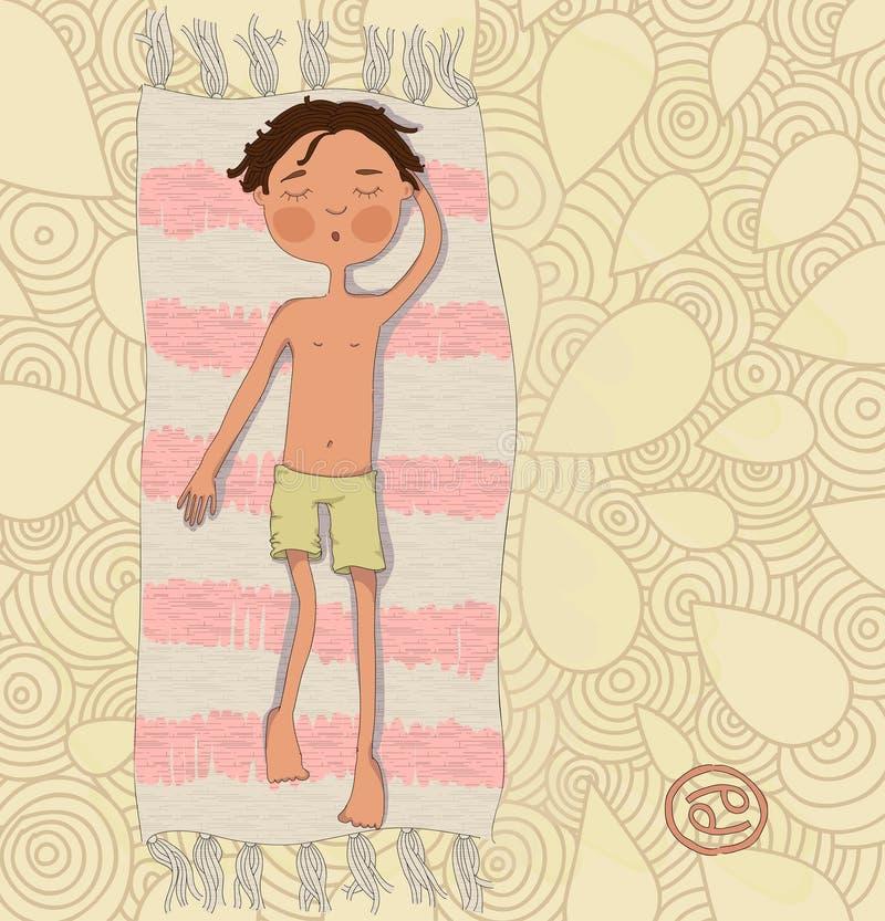 Kanker van het dierenriemteken. De jongen zonnebaadt op de mat eps 10 royalty-vrije illustratie