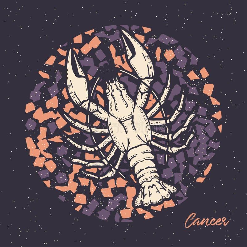Kanker van het dierenriemteken Het symbool van de astrologische horoscoop Het gezicht van Hand-drawn vrouwen illustration stock illustratie