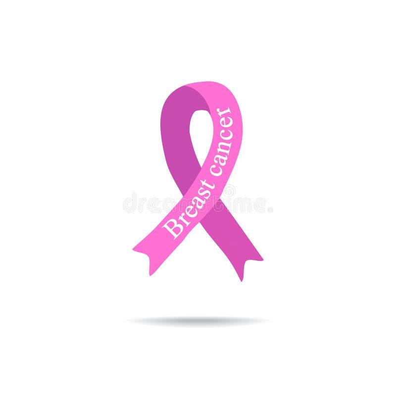 Kankerlint Kanker van de borst Financier de strijd, vind een behandelings postzegel Roze lint Internationale Dag van kanker De da royalty-vrije illustratie