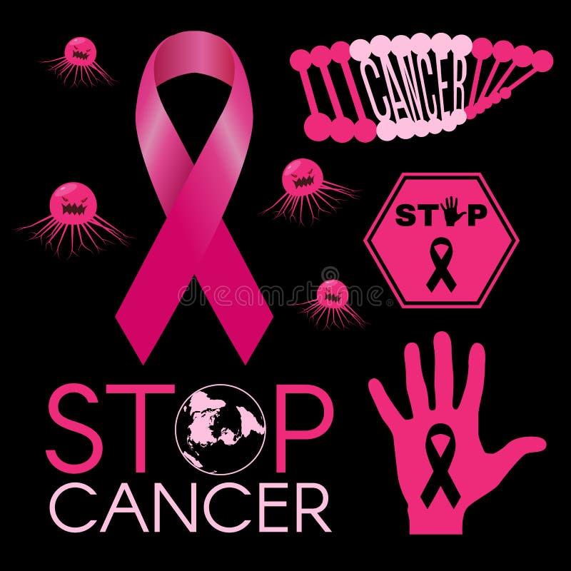 Kankervirus DNA-kanker De wereld van eindekanker De handteken van eindekanker Roze lint op zwarte vectorillustratie als achtergro vector illustratie