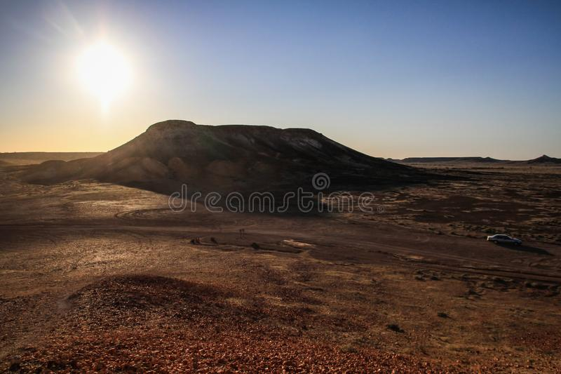The mesas scorched by the sun in the Breakaways Conservation Park, coober pedy, South Australia, Australia. The Kanku-Breakaways Conservation Park prior to July royalty free stock photo