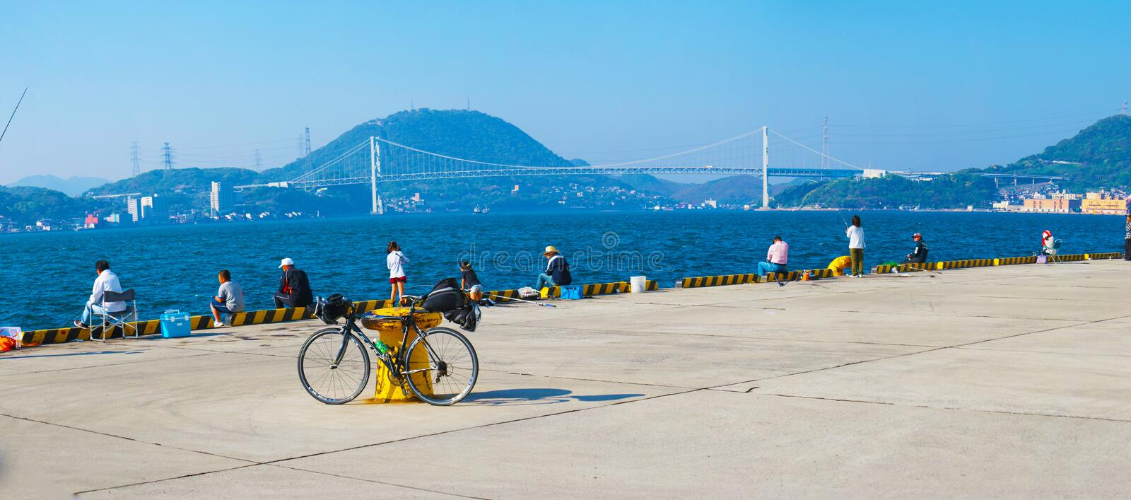 Kanmon Strait and bicycle royalty free stock image