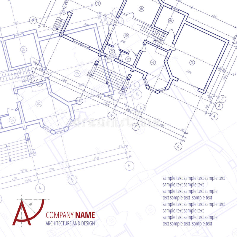 Kann als Feld verwendet werden Blaues Bauplanschattenbild und Ein-Buchstabelogoarchitektur- und -Designfirma stock abbildung