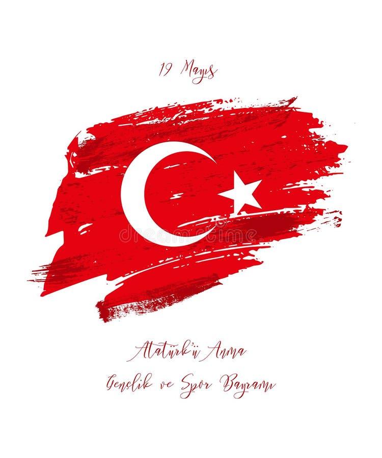 19. kann Gedenken von Ataturk, Jugend und trägt Tag zur Schau Feiertags-Grußkarte des Vektors türkische stock abbildung