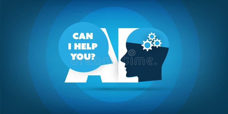 Kann ich Ihnen helfen? - Ai-Hilfe, automatisierte Unterstützung, Digital-Hilfe, tief lernen und zukünftiges Technologie-Konzept-D lizenzfreie abbildung