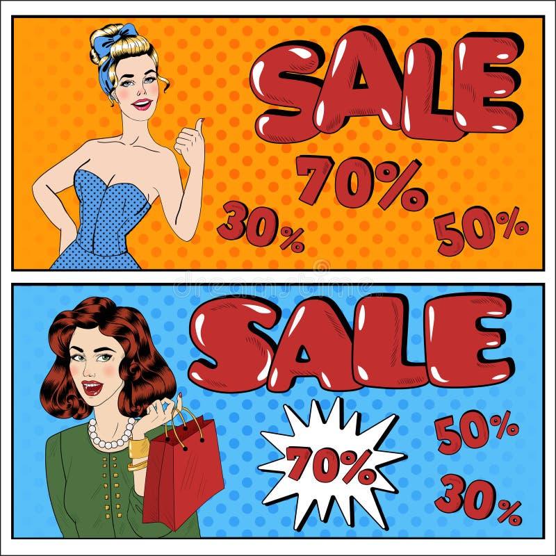 Kann im zusätzlichen Format geändert werden Verkaufs-Anschlagtafel Frauen-Einkauf stock abbildung