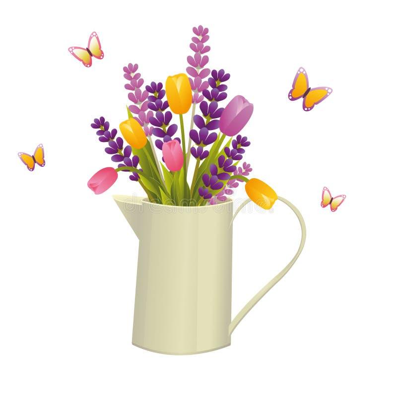 Kanna med blommor royaltyfri illustrationer