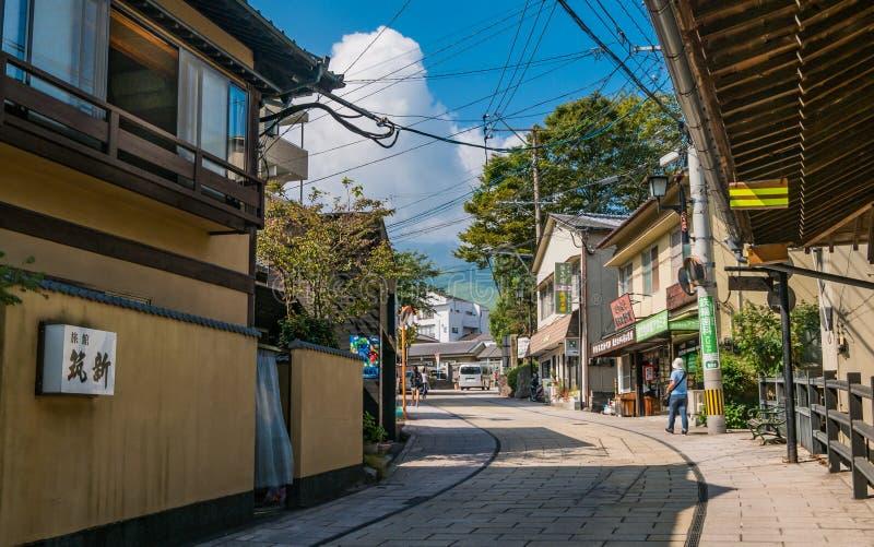 Kannawa镇早晨 图库摄影