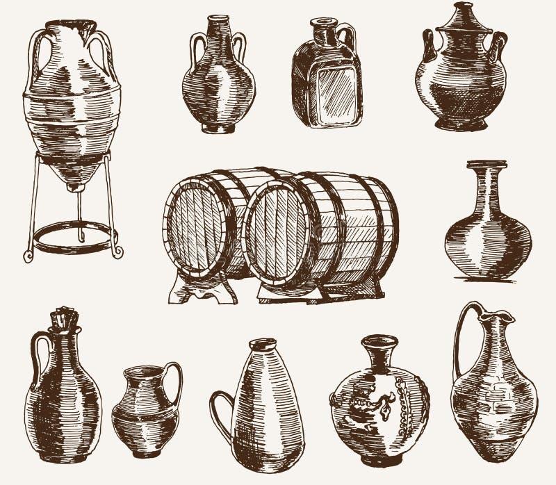 Kannor och två trummor av wine royaltyfri illustrationer