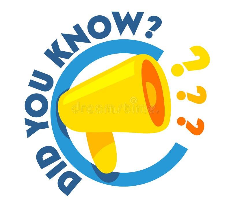 Kannten Sie Zitat mit Megaphon und Fragezeichen am Lautsprecher Fahne für Ausbildung, Marketing und Werbungs-Förderung stock abbildung