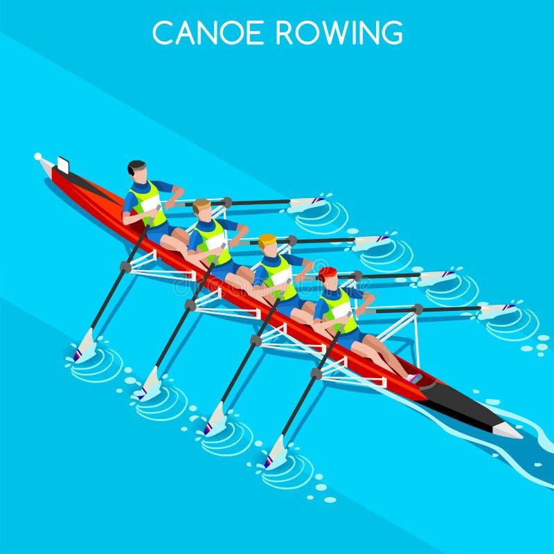 Kano die Viervoudige Sculls-het Pictogramreeks roeien van de Zomerspelen Olympics 3D Isometrische Kanovaarder Paddler Roeiend Kan stock illustratie