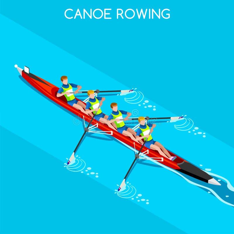 Kano die zonder Stuurman het Pictogramreeks roeien van Vier de Zomerspelen Olympics 3D Isometrische Kanovaarder Paddler Het roeie royalty-vrije illustratie
