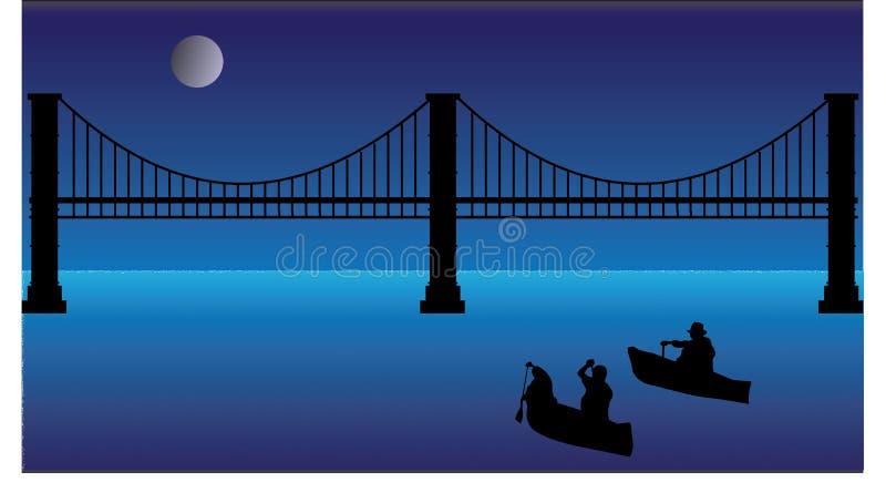 Kano's die aan brug bij nacht met maan roeien stock afbeelding
