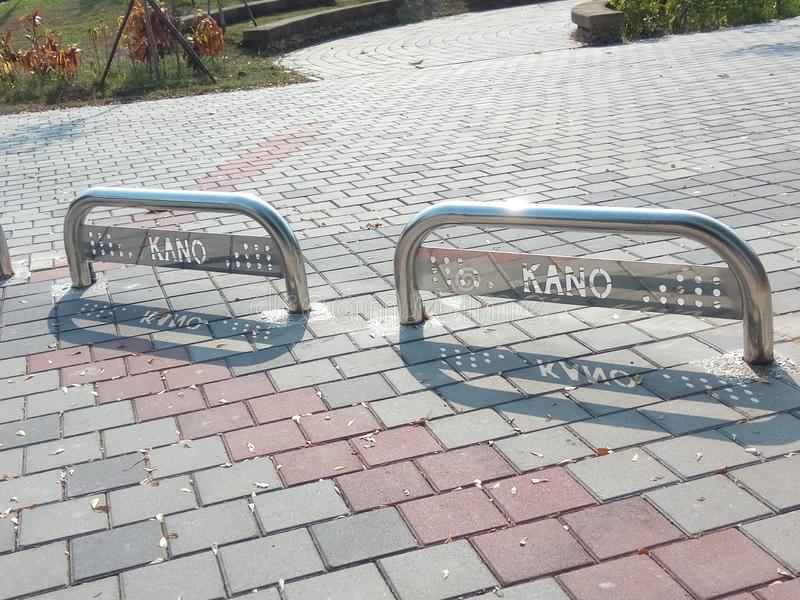 Kano`s Steel barricades, Side view. stock photos
