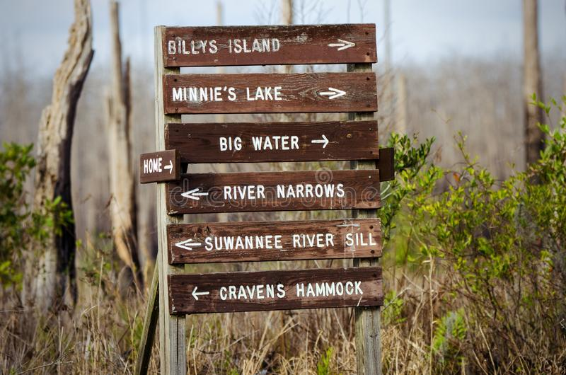 Kanoe trail directioneel bord in Okefenokee Swamp, Georgia stock fotografie