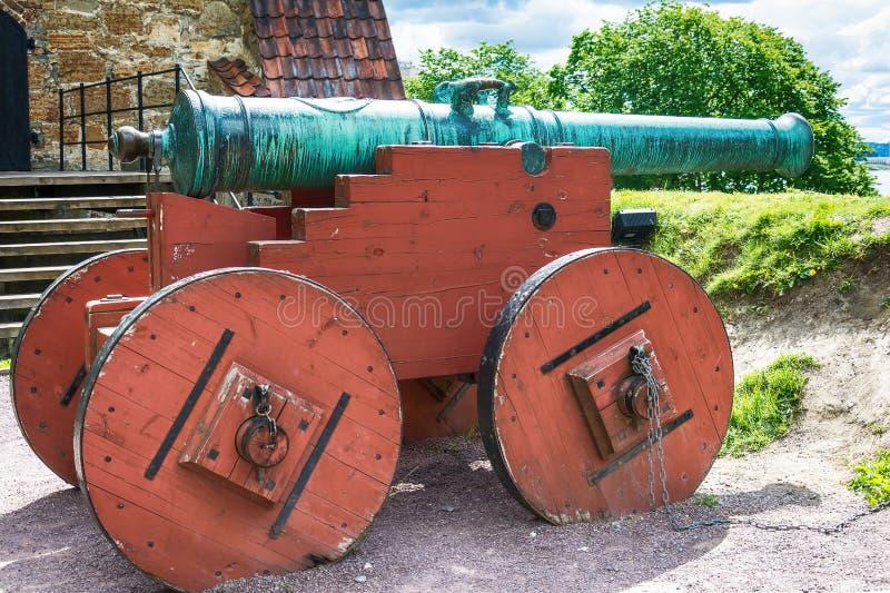 Kanon in Akershus-Fort - Oslo stock afbeeldingen
