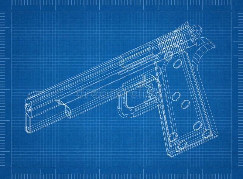 Kanon 3D blauwdruk vector illustratie