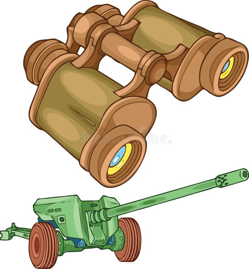 Kanon en militaire verrekijkers stock illustratie