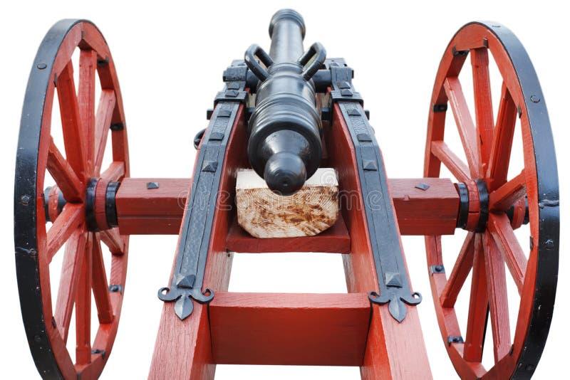 kanon för artilleri för gammalt krut för tappning rött stolpe-medeltida arkivbilder