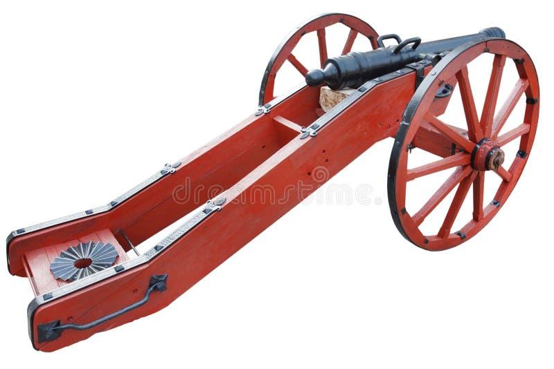 kanon f?r artilleri f?r gammalt krut f?r tappning r?tt stolpe-medeltida arkivbilder