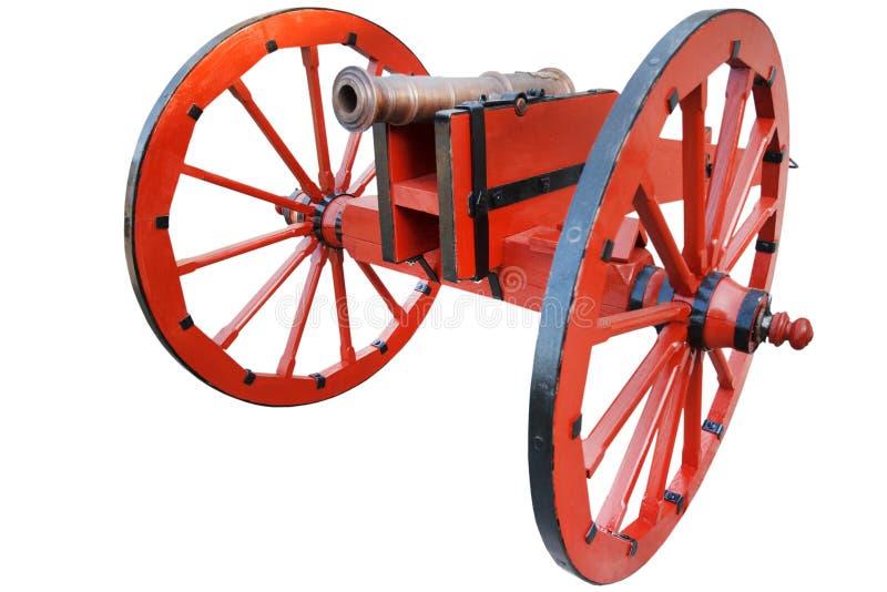 kanon f?r artilleri f?r gammalt krut f?r tappning r?tt stolpe-medeltida royaltyfria foton