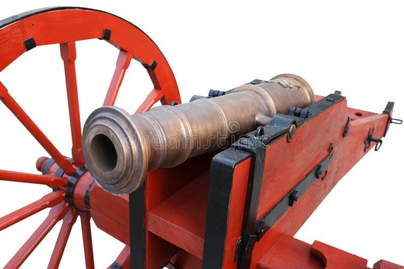kanon f?r artilleri f?r gammalt krut f?r tappning r?tt stolpe-medeltida royaltyfri bild