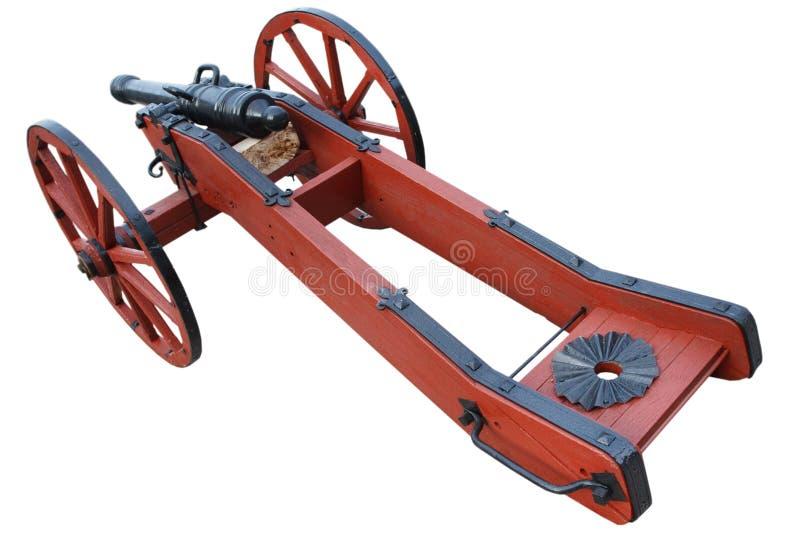 kanon f?r artilleri f?r gammalt krut f?r tappning r?tt stolpe-medeltida arkivfoton