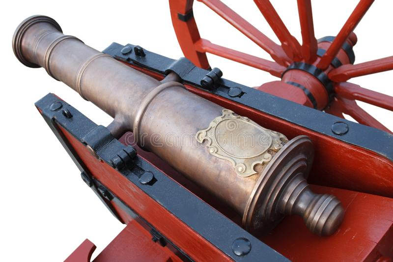 kanon f?r artilleri f?r gammalt krut f?r tappning r?tt stolpe-medeltida royaltyfri foto