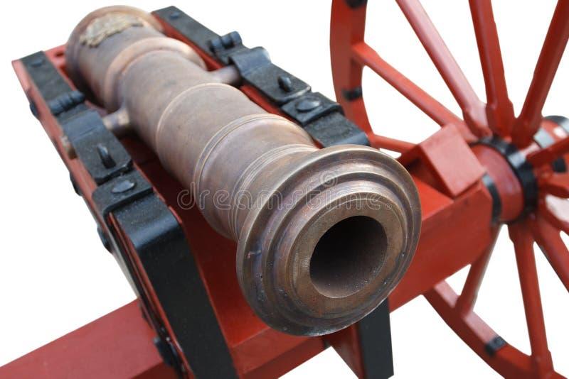 kanon f?r artilleri f?r gammalt krut f?r tappning r?tt stolpe-medeltida arkivbild