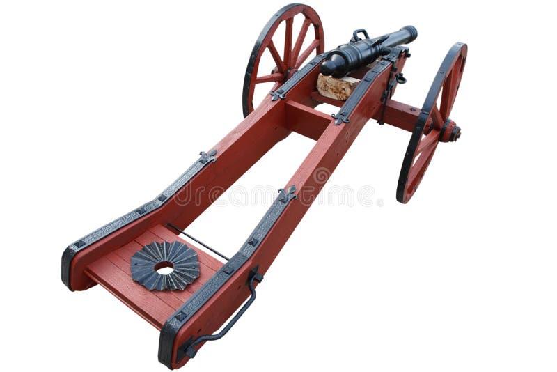 kanon f?r artilleri f?r gammalt krut f?r tappning r?tt stolpe-medeltida royaltyfri fotografi