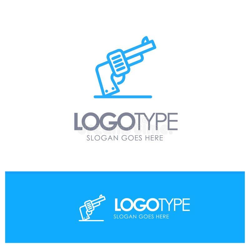 Kanon, Hand, Wapen, Amerikaans Blauw Overzicht Logo Place voor Tagline stock illustratie