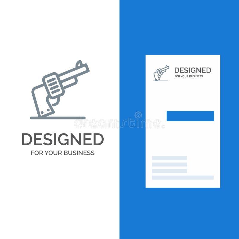 Kanon, Hand, Wapen, Amerikaans Grey Logo Design en Visitekaartjemalplaatje royalty-vrije illustratie