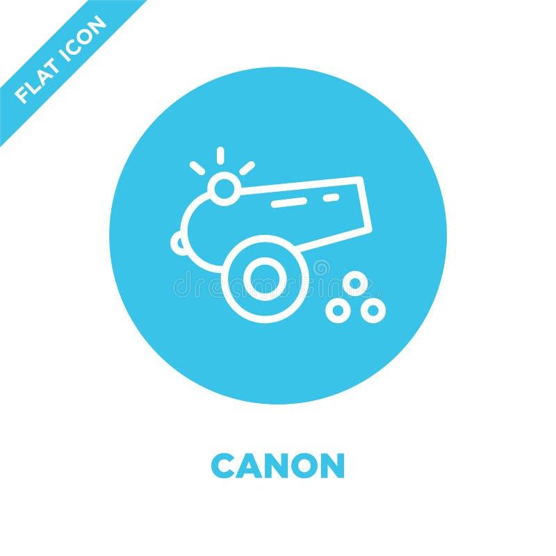 kanon ikony wektor od militarnej kolekcji Cienka kreskowa kanonu konturu ikony wektoru ilustracja Liniowy symbol dla używa na sie royalty ilustracja