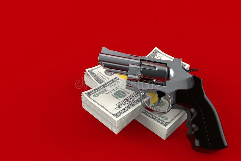 Kanon met geld stock illustratie