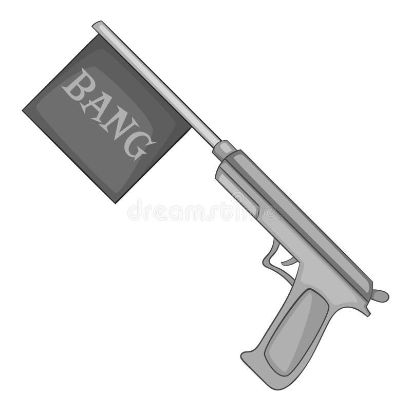 Kanon met vlagstuk speelgoed pictogram, zwart-wit stijl royalty-vrije illustratie