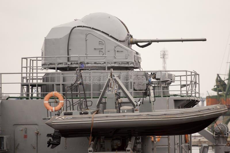 Kanon op Slagschip royalty-vrije stock fotografie