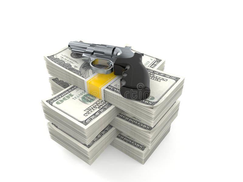 Kanon op stapel van geld vector illustratie
