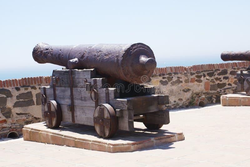 Kanon in Sohail Castle, Fuengirola, Spanje stock afbeeldingen